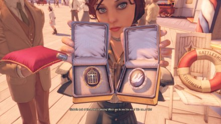 One of the few decisions you get to make that affects the gameplay of Bioshock Infinite, which of these symbolic textures Elizabeth will wear 'round her neck