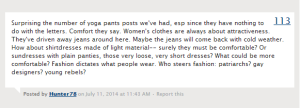 """Comfort they say. Women's clothes are always about attractiveness..."" - Hunter78"