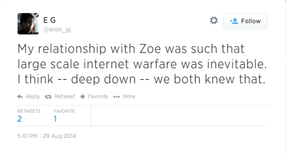 In Eron's mind, Zoe's the face which sent a thousand angry emails to Gawker.