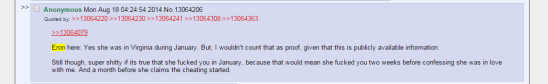 Eron Gjoni, discussing Zoe Quinn's sex life and whereabouts in one post on 4chan.