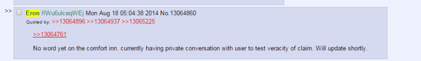 Eron, unable to confirm that ZQ cheated with some rando in a Comfort Inn but keeping 4chan entertained