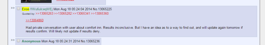 Eron Gjoni, inquiring about his ex-girlfriend's whereabouts with certain hotels for 4chan's benefit